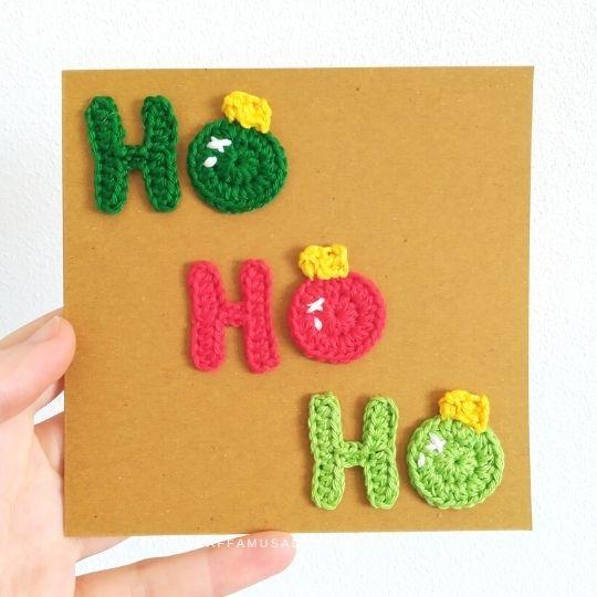 Crochet Ho Ho Ho Christmas Applique - Free Pattern - Raffamusa Designs