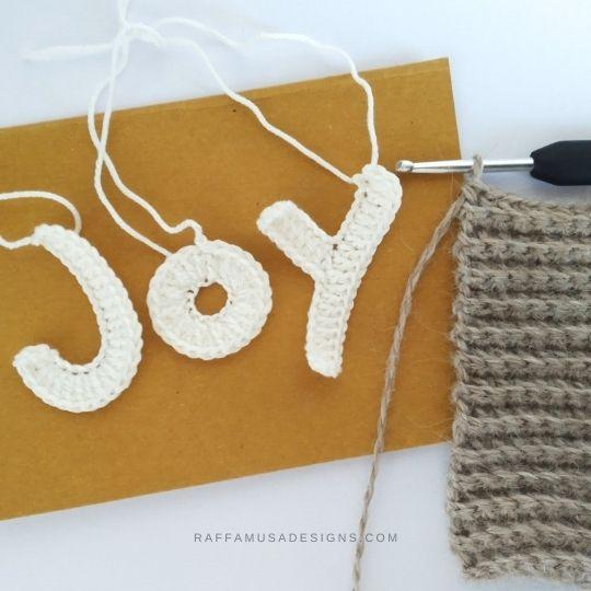 Crochet JOY Letters Appliques - Free Pattern - Raffamusa Designs