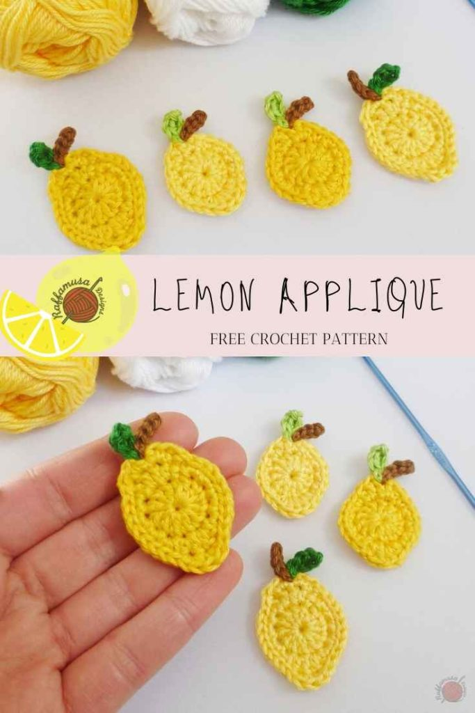 Crochet Lemon Applique - Free Pattern - Raffamusa Designs
