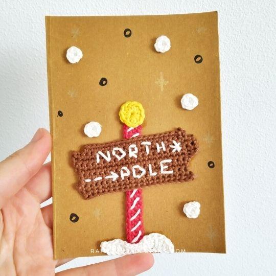 North Pole Sign Crochet Applique - Free Christmas Pattern - Raffamusa Designs
