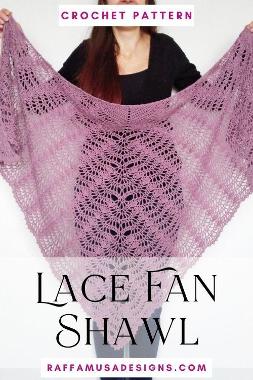 Crochet Lace Fan Shawl - Crochet Pattern - Raffamusa Designs