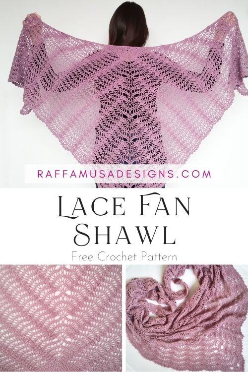 Crochet Lace Fan Shawl - Free Crochet Pattern - Raffamusa Designs