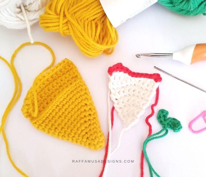 Crochet Pizza Slice Amigurumi - Work in Progress - Raffamusa Designs