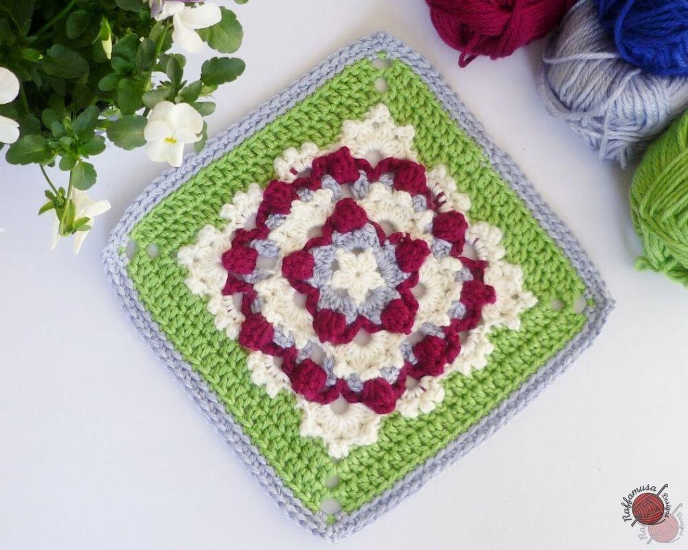 Crochet Popping Flower Square - Free Pattern by RaffamusaDesigns