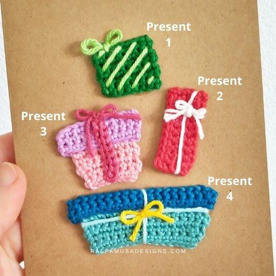 Crochet Little Presents Appliques - Raffamusa Designs