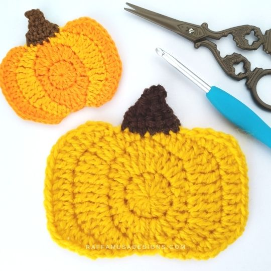 Large Pumpkin Applique - Free Crochet Pattern - Raffamusa Designs