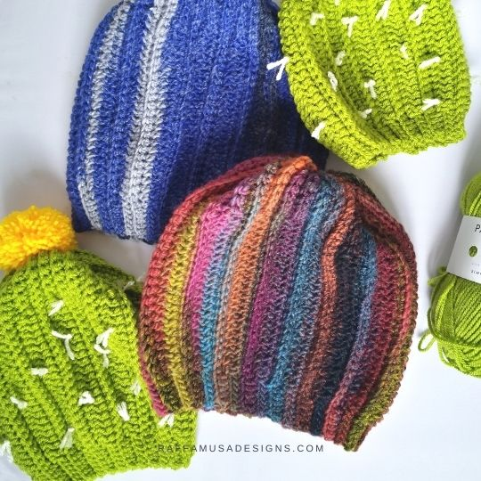 Ribbed Slouchy Cactus Beanie - Free Crochet Pattern - Raffamusa Designs
