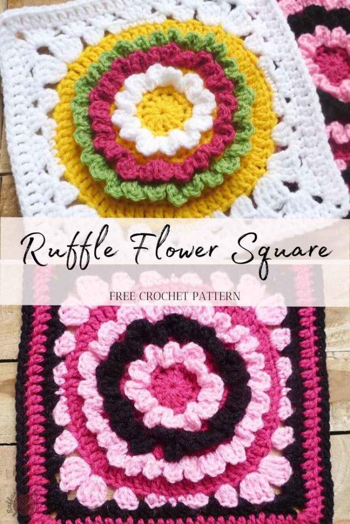 Crochet Ruffle Flower Granny Square - Free Pattern