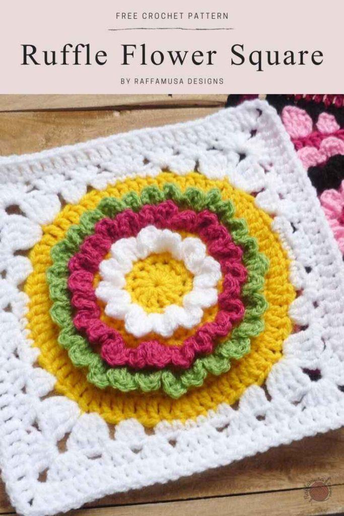 Crochet Ruffle Flower Afghan Block - Free Pattern