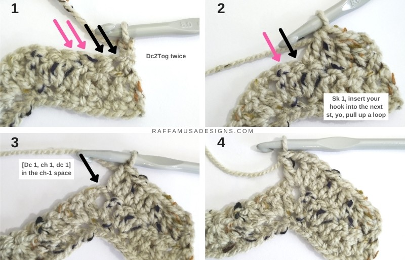 How to crochet Row 3 of the simple ripple scarf