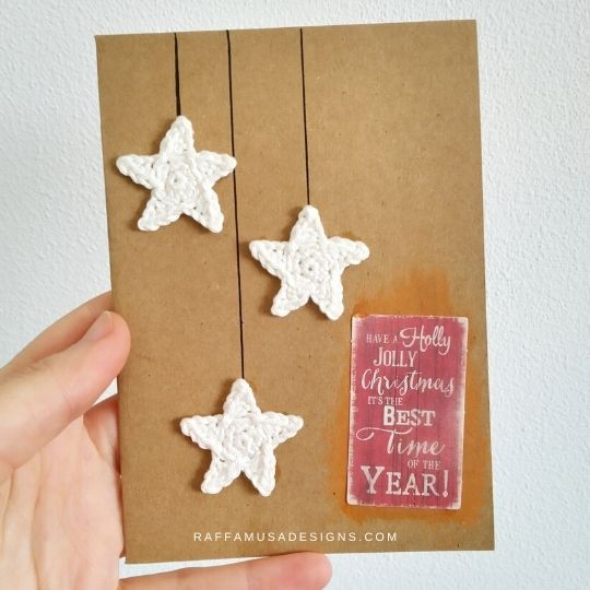 Crochet Christmas Star Applique - Free Pattern - Raffamusa Designs