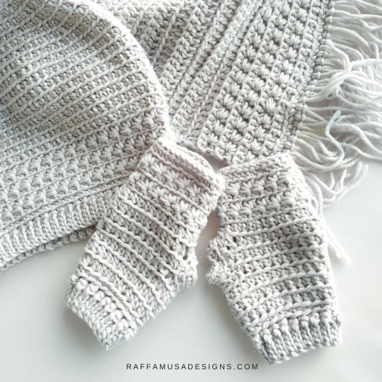 Crochet Star Stitch Set - Beanie, Fingerless Gloves, and Scarf - Raffamusa Designs