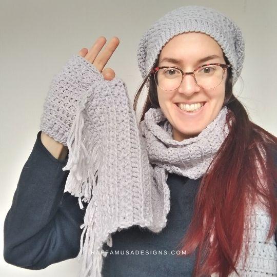 Me wearing my Star Stitch Winter Set - Raffamusa Designs