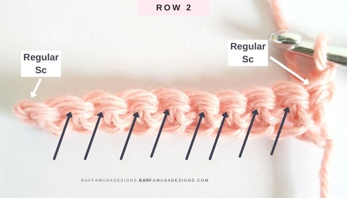 How to Crochet the Waistcoat Stitch or Knit Stitch - Where to insert the hook - Raffamusa Designs