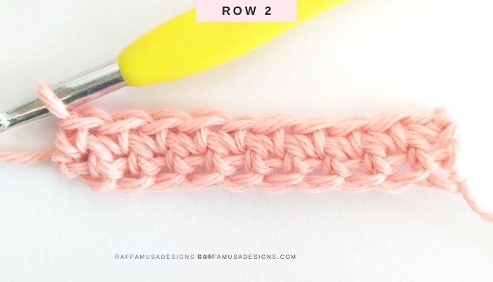 How to Crochet the Waistcoat Stitch or Knit Stitch - Row 2 - Raffamusa Designs