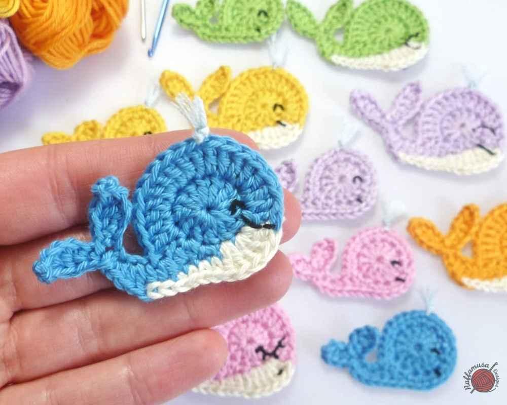 Crochet Whale Applique - Free Crochet Pattern by RaffamusaDesigns