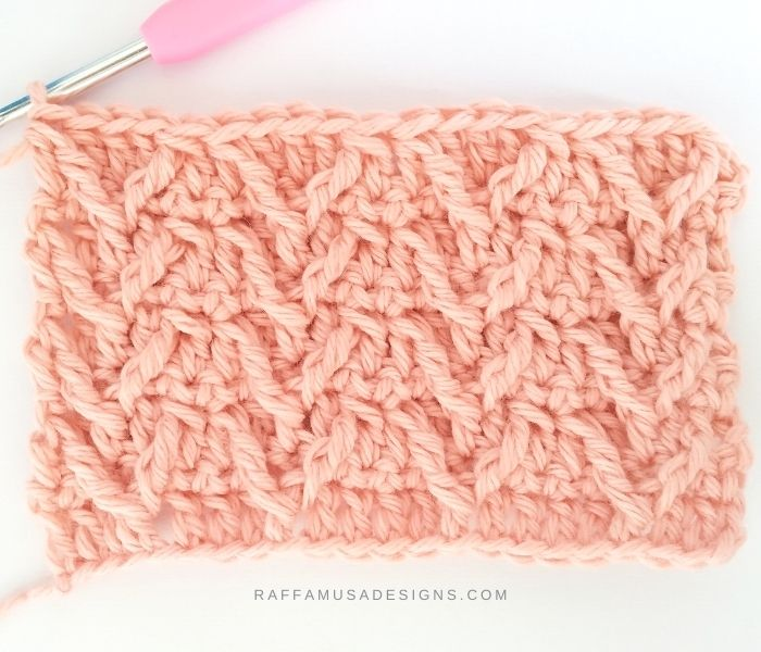 Crochet Textured Faux Cable Stitch - Raffamusa Designs