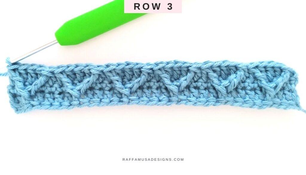 Crochet Wrapped Arrow Stitch Tutorial - Row 3 - Raffamusa Designs