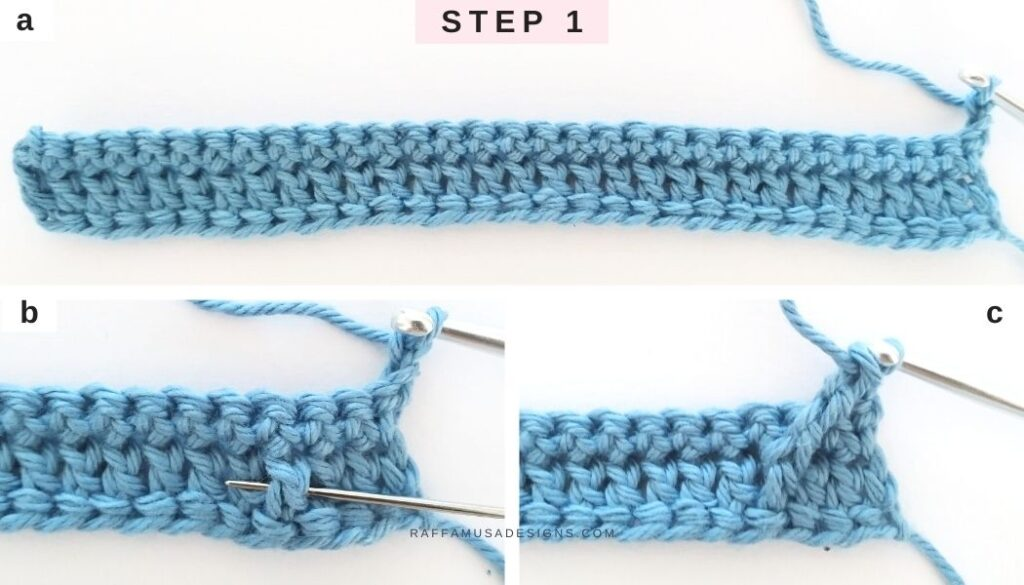 Crochet Wrapped Arrow Stitch Tutorial - Step 1 - Raffamusa Designs