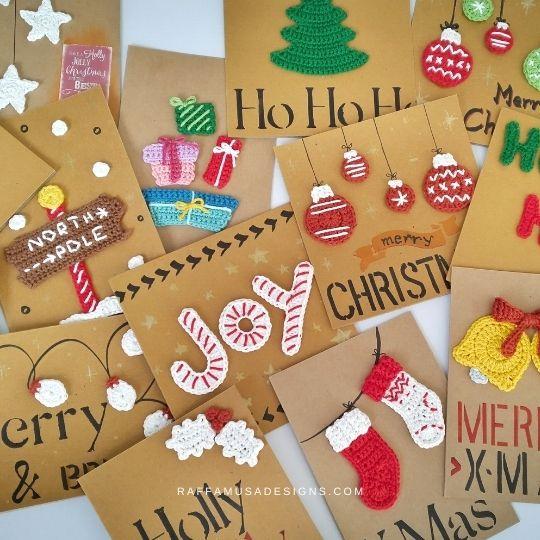 DIY Christmas Cards with Crochet Appliques - Raffamusa Designs