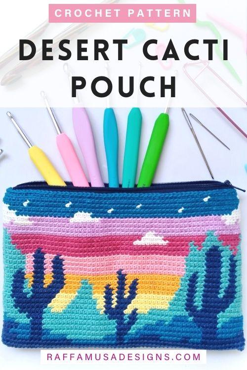 Tapestry Crochet Desert Cacti Pouch - Free Pattern - Raffamusa Designs