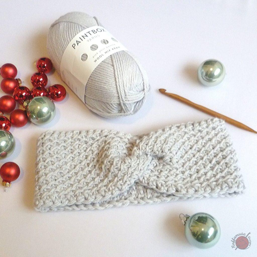 diagonal lattice Tunisian crochet headband