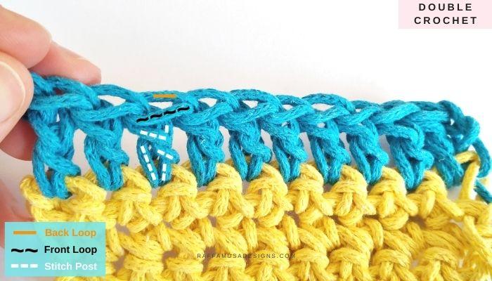 The anatomy of a double crochet stitch - Raffamusa Designs