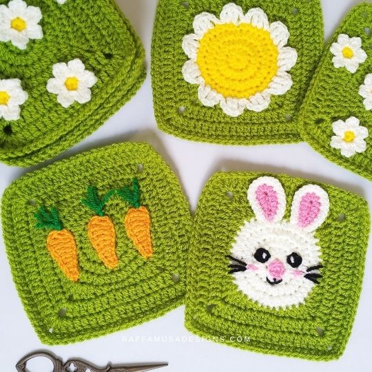 Spring Farm Granny Squares - Carrot and Bunny Squares - Raffamusa Designs