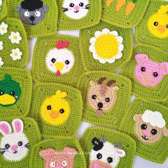 Spring Farm Granny Squares - Raffamusa Designs