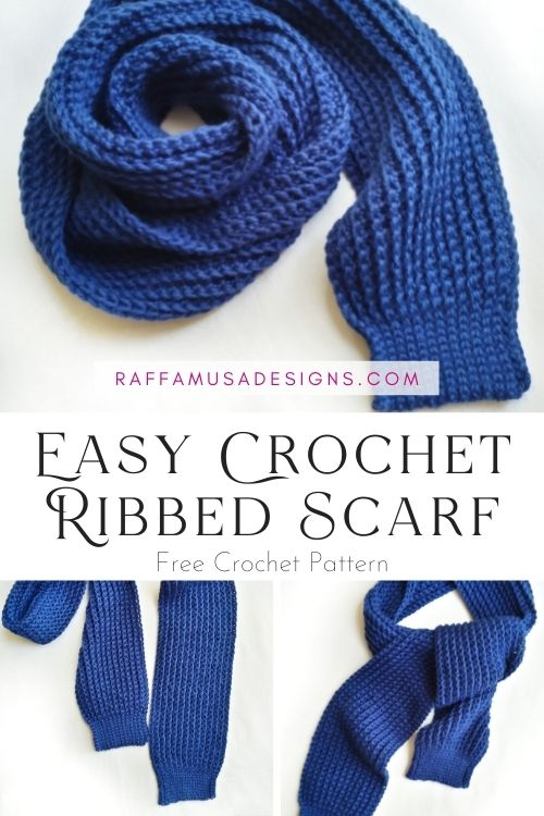 How to Crochet an Easy Ribbed Scarf - Free Pattern for Beginners - Raffamusa Designs