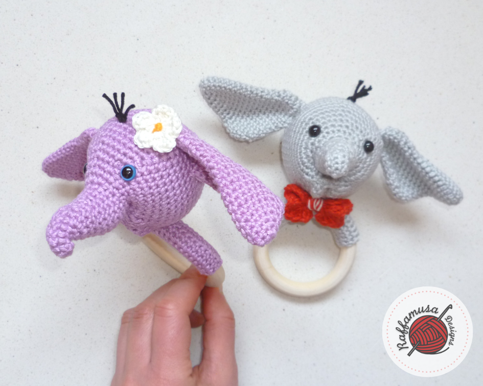 Elephant Baby Rattles in pink and grey