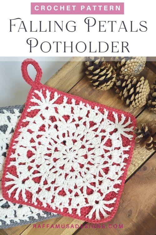 Falling Petals Crochet Potholder - Free Crochet Pattern - Raffamusa Designs