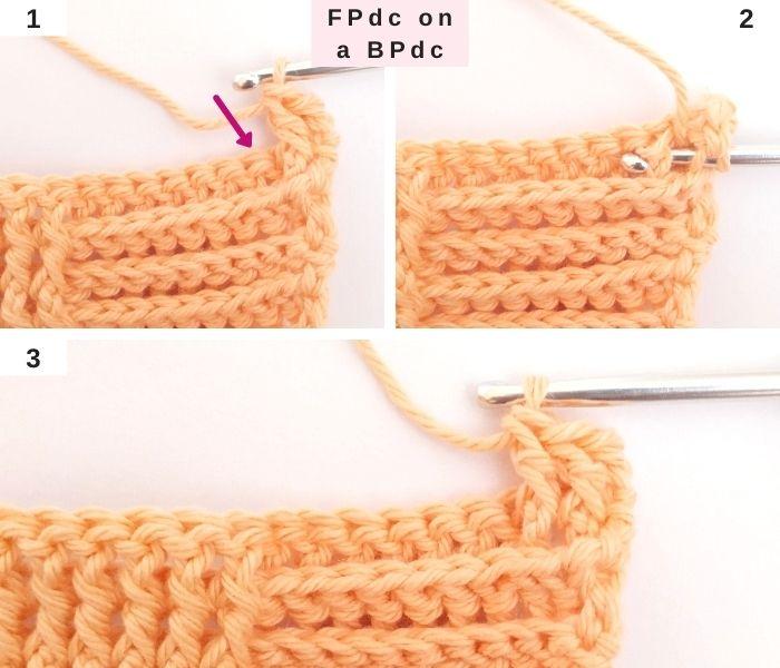 How to Crochet a front post dc stitch over a back post stitch - Raffamusa Designs