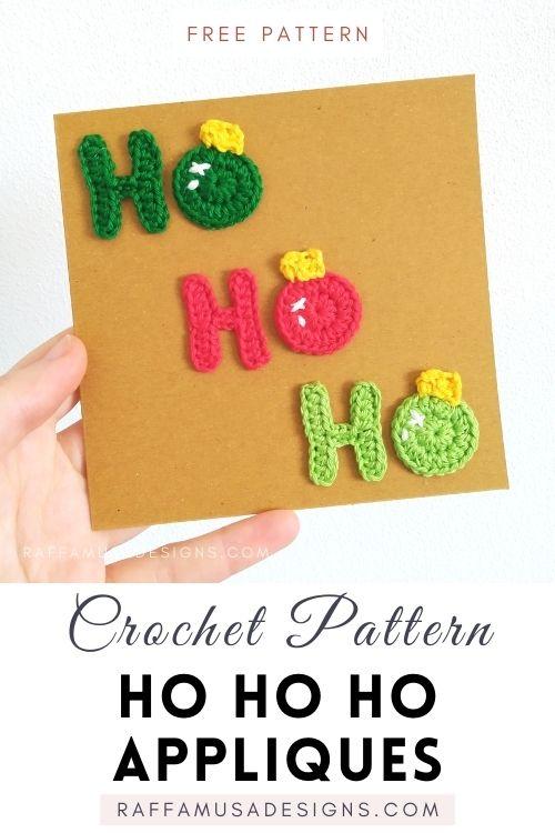 Ho Ho Ho Christmas Applique - Free Crochet Pattern - Raffamusa Designs