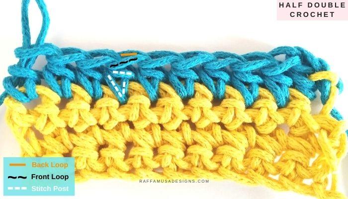 Half double crochet stitch - Raffamusa Designs