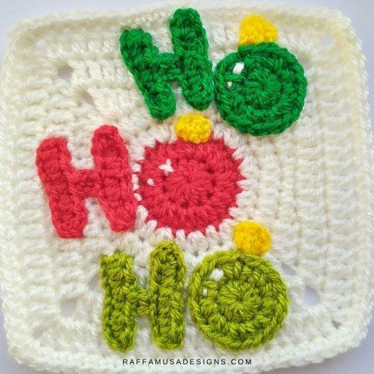 Ho Ho Ho Applique and Granny Square - Crochet Pattern