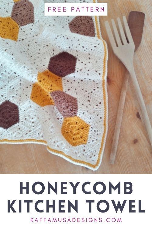 Free Crochet Pattern - Honeycomb Kitchen Towel - Raffamusa Designs