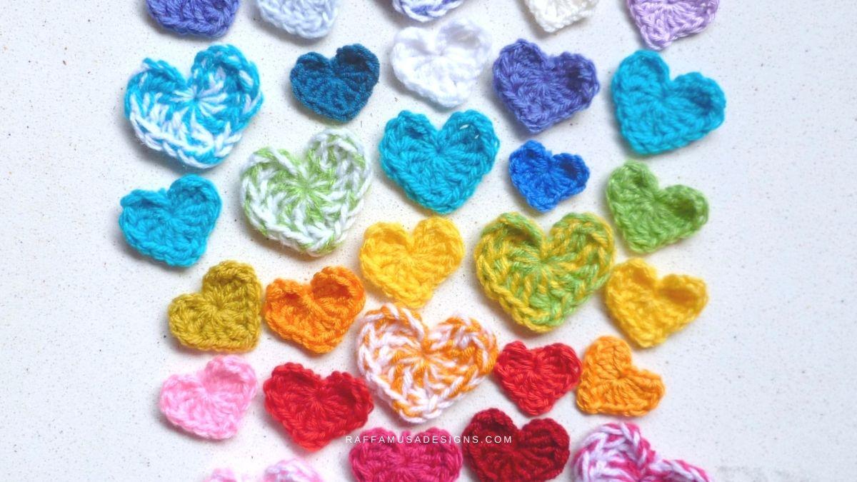 How to Crochet a Small Heart Applique - Free Crochet Pattern - Raffamusa Designs