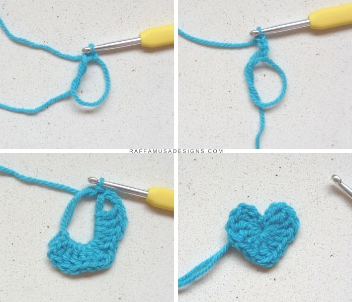 Step-by-Step - How to Crochet A Small Heart Applique - Free Pattern - RaffamusaDesigns