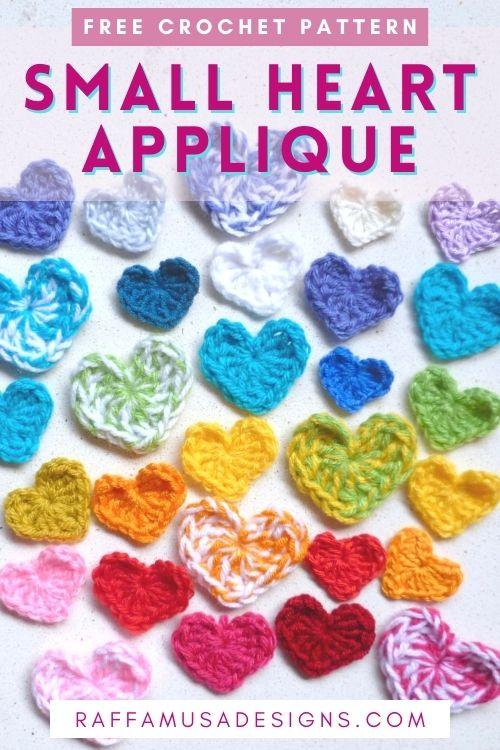 How to Crochet a Small Heart Applique - Free Pattern - Raffamusa Designs