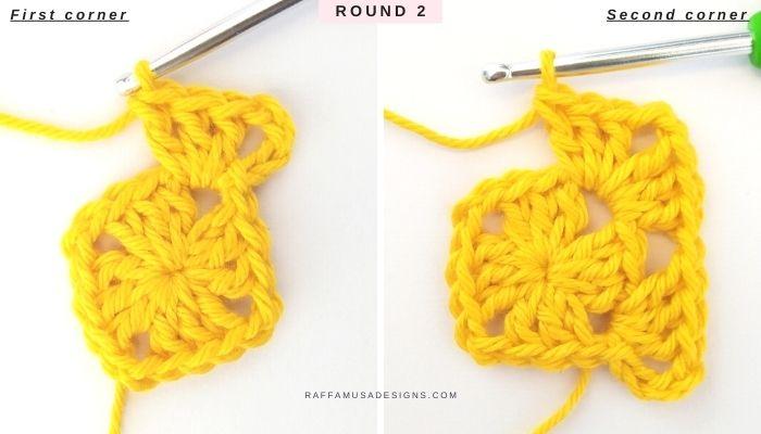 How to crochet a granny square - Free Tutorial - Round 2 - Raffamusa Designs