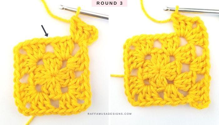 How to crochet a granny square - Free Tutorial - Round 3 - Raffamusa Designs