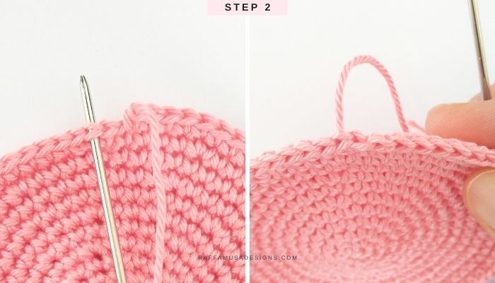 How to join crochet rounds with the invisible join - Step 2 - Raffamusa Designs