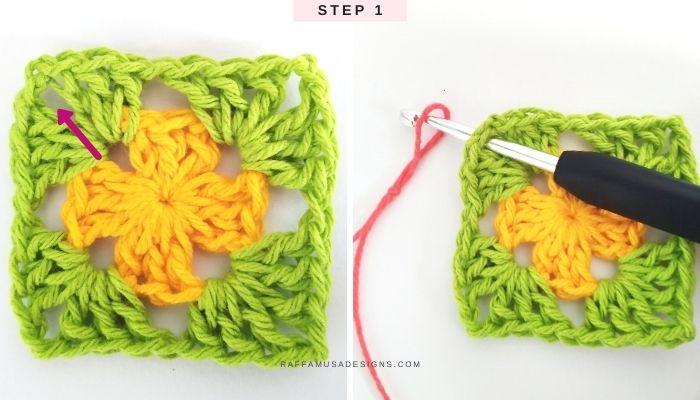 How to crochet a classic granny square in multiple colors - Free Tutorial - Step 1 - Raffamusa Designs