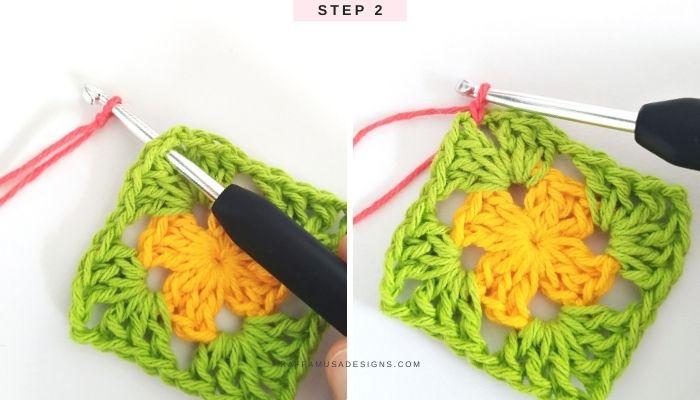 How to crochet a classic granny square in multiple colors - Free Tutorial - Step 2 - Raffamusa Designs