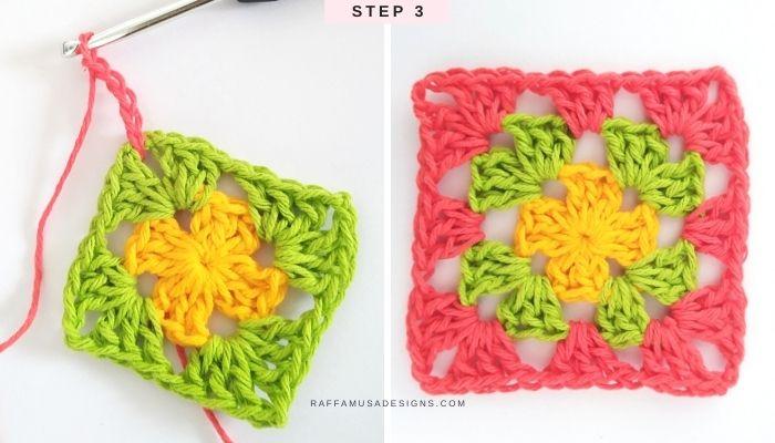 How to crochet a classic granny square in multiple colors - Free Tutorial - Step 3 - Raffamusa Designs