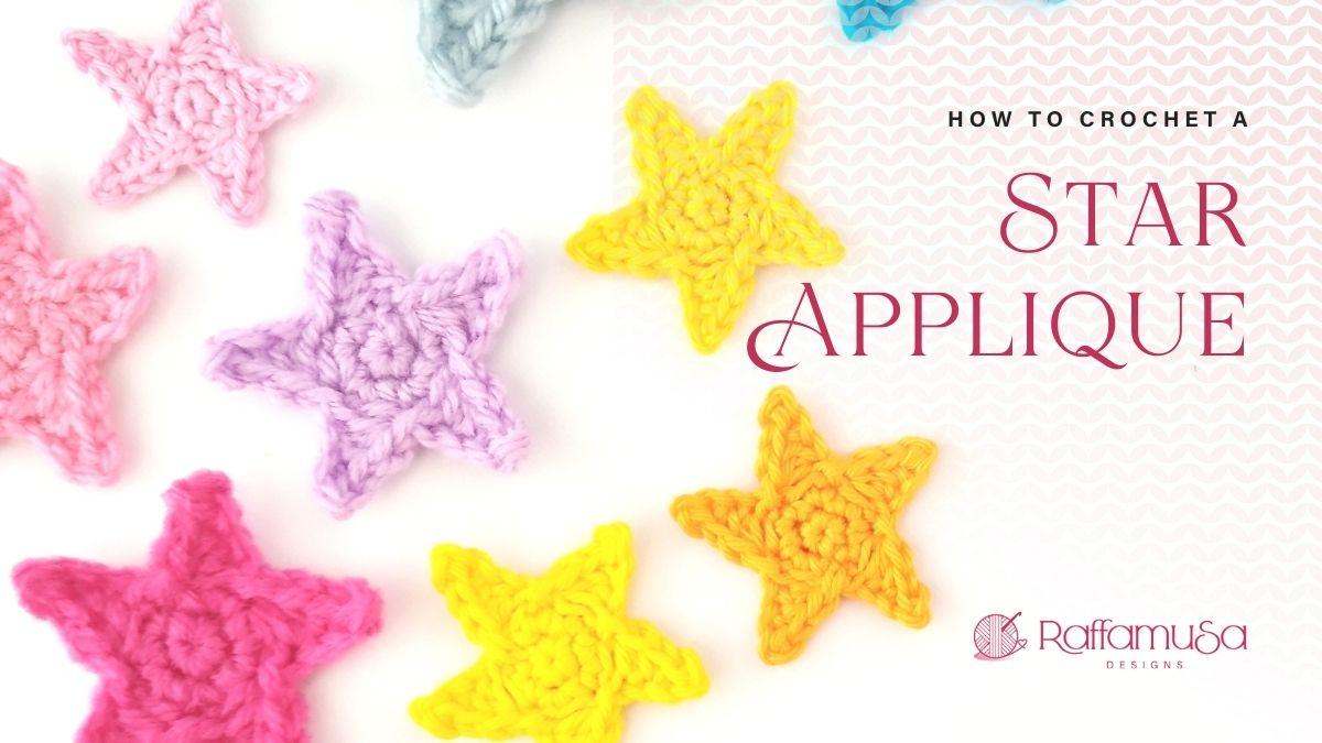 How to crochet a little star applique - Free Crochet Pattern - Raffamusa Designs