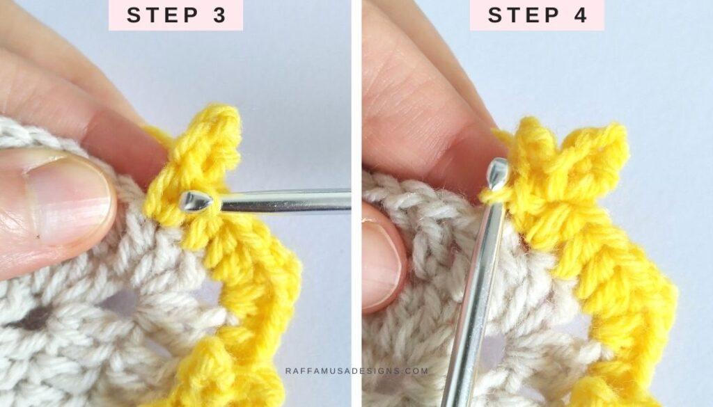 How to Crochet the Little Stars Border - Steps 3 and 4 - Raffamusa Designs