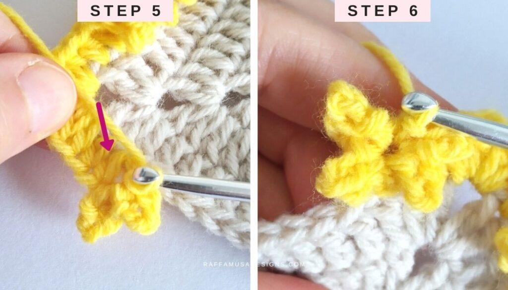How to Crochet the Little Stars Border - Steps 5 and 6 - Raffamusa Designs