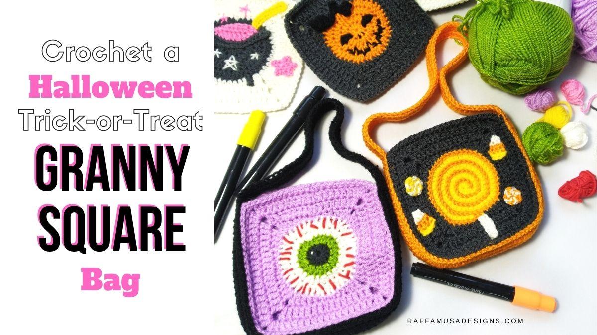 How to Crochet a Halloween Trick-or-Treat Granny Square Bag - Raffamusa Designs